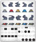 Roads and sport car shapes vectors