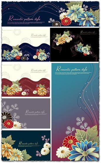 Romantic flower vector patterns