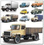 Russian big trucks and cars vectors