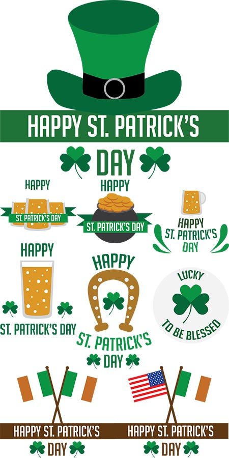 Saint Patrick's day ornaments vector