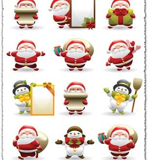 Santa Claus and snowman vector cliparts