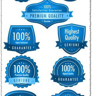 Satisfaction guarantee blue vector labels