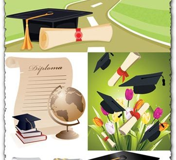School graduation and diplomas vectors