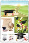 School graduation and diplomas vectors