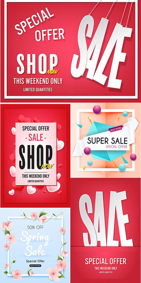 Seasonal promo sales vector banners