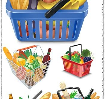 Shopping basket with groceries vectors