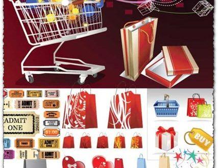 Shopping labels, carts and bags vectors