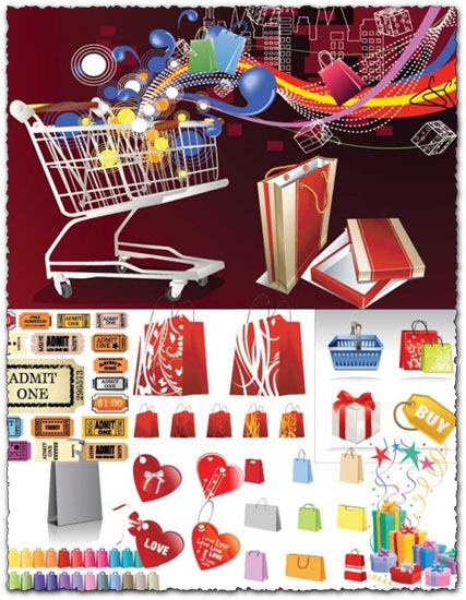 Shopping labels, carts and bags vectors