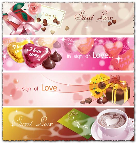 Love themes vector banners