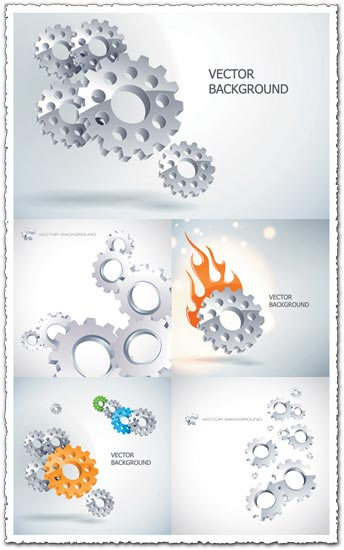 Silver gear wheels vectors