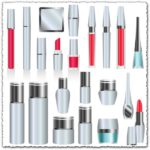 Silver skin care cosmetics vectors