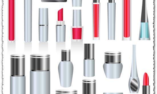 Silver skin care cosmetics vectors