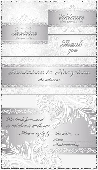 Silver wedding invitations with floral curly shapes