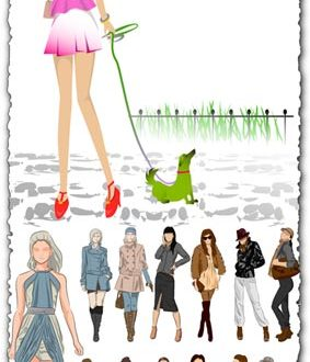 Sketch of fashion girls vectors