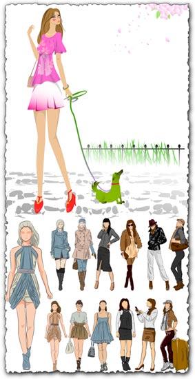 Sketch of fashion girls vectors