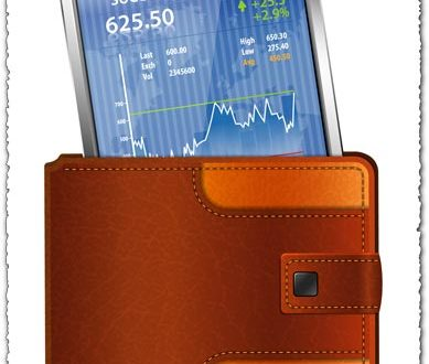 Smartphone on wallet business vector