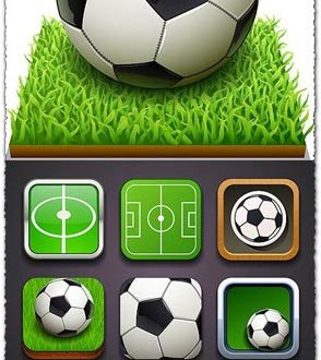 Soccer balls models and icons vector