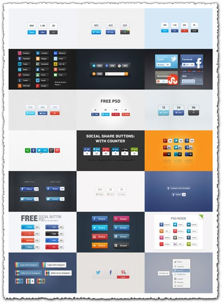 Social media buttons PSD design