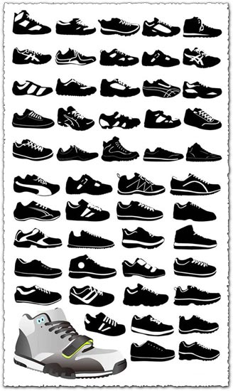 Sport shoes vector silhouettes