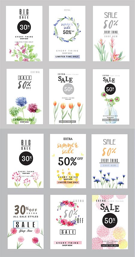Spring big sales vertical vector banners