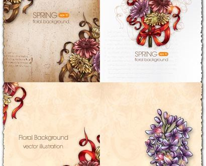 Spring floral background vector illustration 1