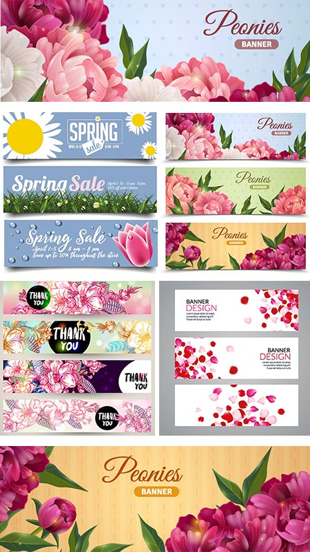 Spring floral banners vector design