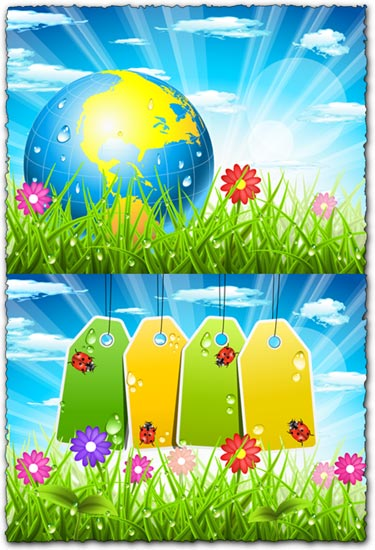 Spring landscapes with tags and globe vectors