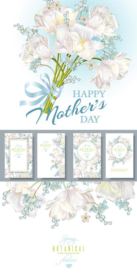 Spring white flowers vector composition