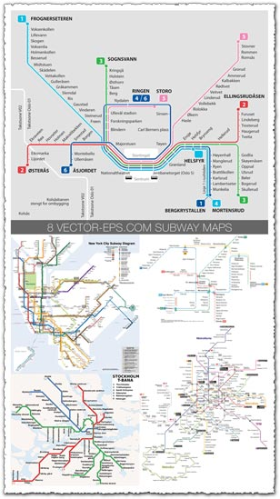 Subway maps of european cities vectors