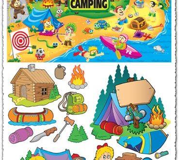 Summer camping vector illustrations