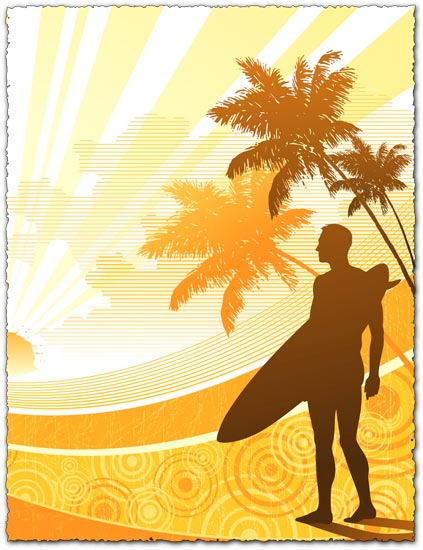 Surfer on the palm beach vector