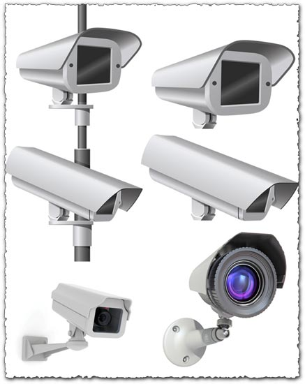 Surveillance cameras vector shapes