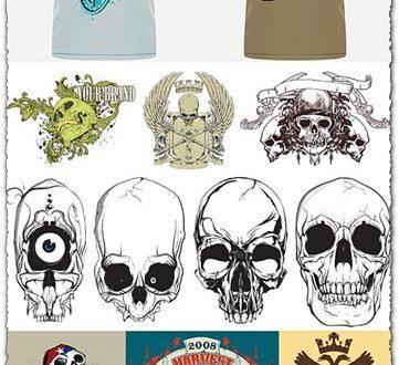 T-shirts with skulls vector models