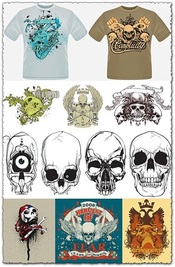T-shirts with skulls vector models