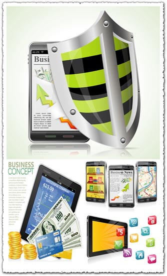 Tablet and phone business concept vectors