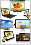Tablet, smartphone, monitor and slim tv vectors