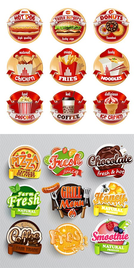 Tasty fast food vector labels