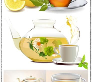 Teapot cups eps vector
