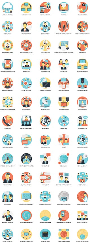 Technology and social media flat vector icons
