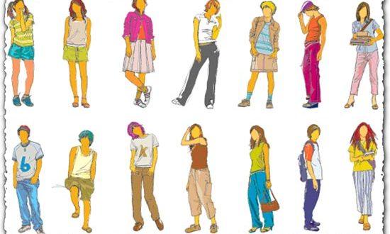 Teenagers silhouette vectors