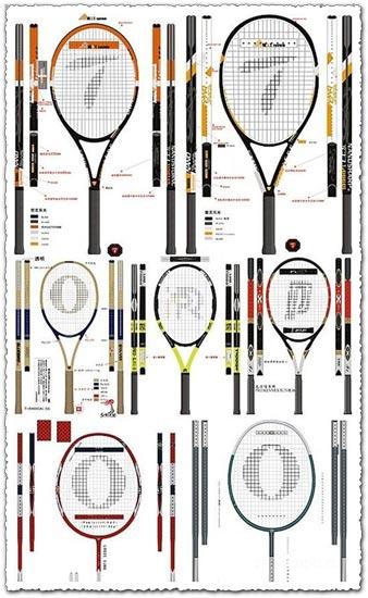 Tennis and badminton vectors