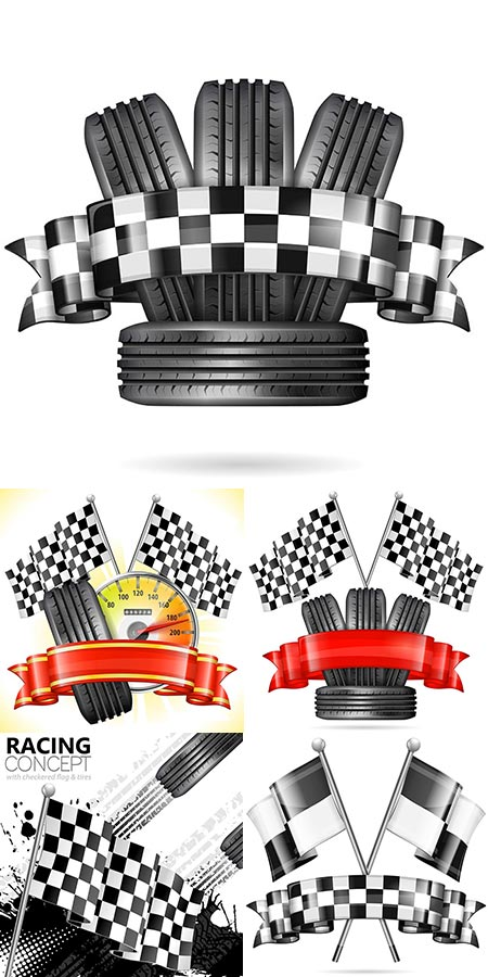 Tires with flags and ribbons vector