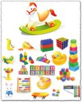 Children toys vector cliparts