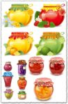 Traditional cans of fruit jam vectors
