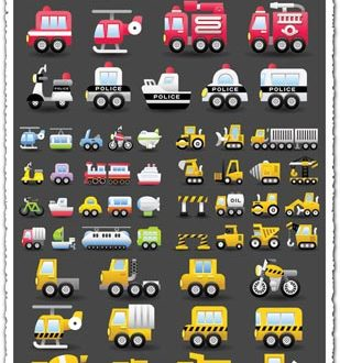 Transportation and construction vehicles vectors