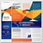 Tri fold business brochure vectors