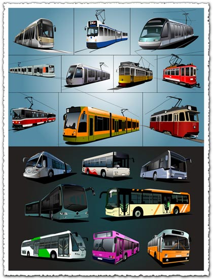 Trolley buses and trams vectors