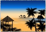 Tropical Beach Vector EPS