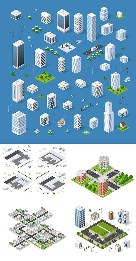Urban elements isometric architecture