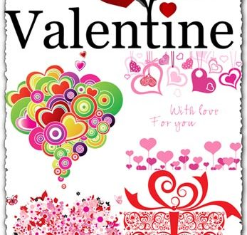 Valentine's day with hearts and giftboxes vectors